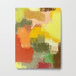 Abstract art watercolor art minimalist orange brown Metal Print