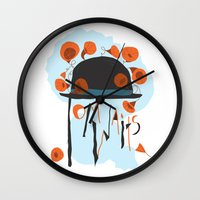 tom waits Wall Clocks featuring Tom Waits by Laura Shaffer