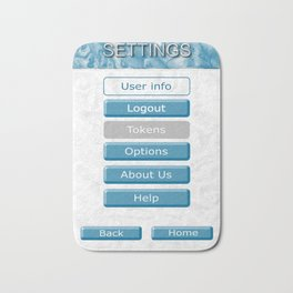 Picture of the interface with the image of 3D buttons for mobile Apps. Bath Mat