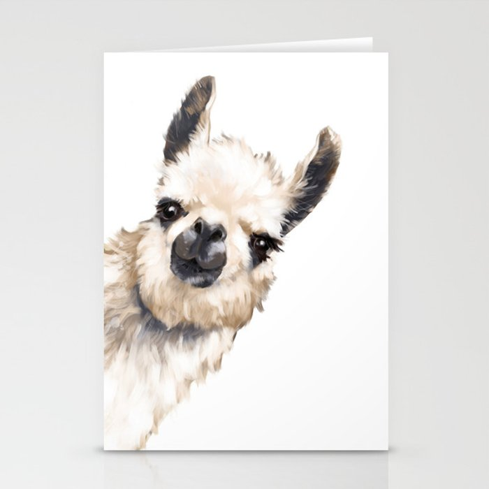 Sneaky Llama White Stationery Cards