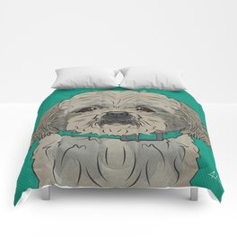 Icons of the Dog Park: Shih Tzu Design in Bold Colors for Pet Lovers Art Print Comforters