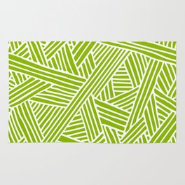 Abstract apple green & white Lines and Triangles Pattern-Mix and Match with Simplicity of Life Rug