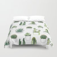 watercolour Duvet Covers featuring watercolour cacti and succulent by Vicky Webb