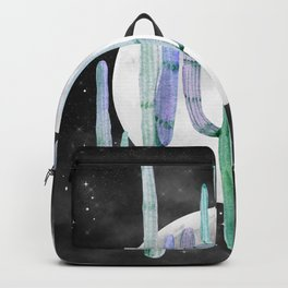 Cactus Nights Full Moon Starry Sky Turquoise Green by Nature Magick Backpack