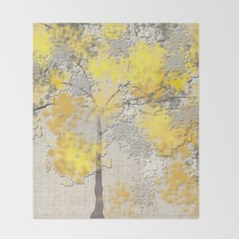 Abstract Yellow and Gray Trees Throw Blanket