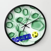 brasil Wall Clocks featuring Soccer Brasil by LoRo  Art & Pictures