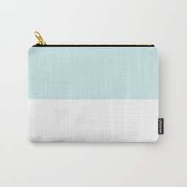 White and Light Cyan Horizontal Halves Carry-All Pouch