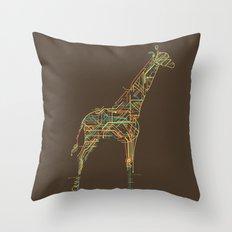 Electric Giraffe Throw Pillow