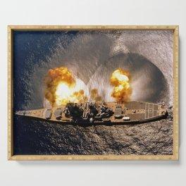 USS Iowa - Battleship Firing Broadside - 1984 Serving Tray