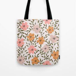 70s Floral Theme Tote Bag