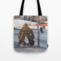 outdoor Tote Bags featuring Outdoor hockey rink by RMK Creative