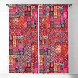 N98 - Traditional Heritage Boho Oriental Moroccan Collage Style. Blackout Curtain