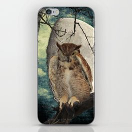 Great Horned Owl Bird Moon Tree A138 iPhone Skin