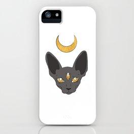 Three cat eyes grey skies iPhone Case