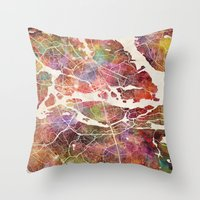 stockholm Throw Pillows featuring Stockholm by MapMapMaps.Watercolors