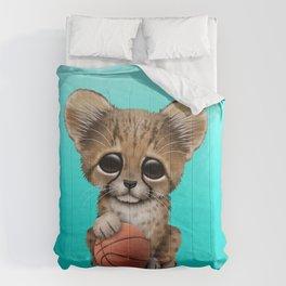 Cheetah Cub Playing With Basketball Comforters