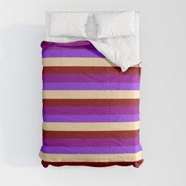 Purple, Tan, Maroon, and Dark Magenta Colored Stripes/Lines Pattern Comforters