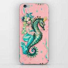 Mermaid Riding a Seahorse Prince iPhone Skin