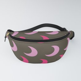 Pink and Brown Crescent Moon Polka Dots Fanny Pack
