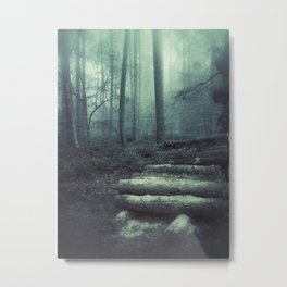 Foggy Forest Logs Metal Print