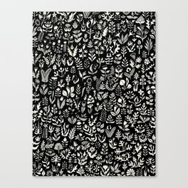 Black and white botanical pattern Canvas Print