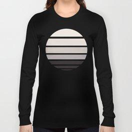 Grey Mid Century Modern Minimalist Circle Round Photo Staggered Sunset Geometric Stripe Design Long Sleeve T-shirt