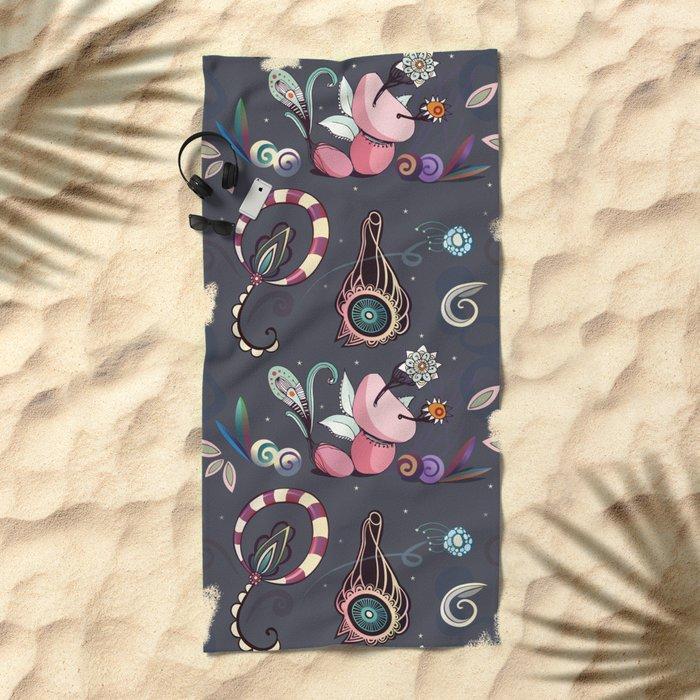 camtric fantasy pattern Beach Towel