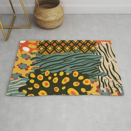 Colorful African Animal Pattern Rug