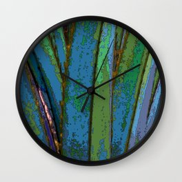 Blue Abstract Screw Pine Wall Clock