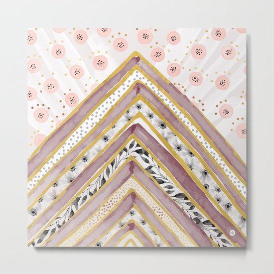 Geometrical and watercolor flowers Metal Print