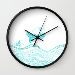 Doodle fish jumping out of the water-Maritime on #Society6 Wall Clock