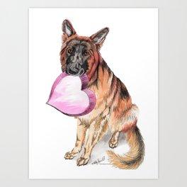 German Shepherd love , cute GSD dog watercolor with heart Art Print