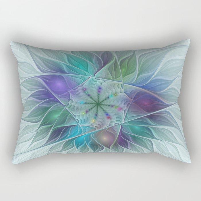 Colorful Fantasy Flower Fractal Art Abstract Rectangular Pillow