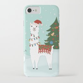 Santa Llama with Christmas Tree iPhone Case