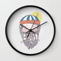 beard Wall Clocks featuring BEARD by Nazario Graziano