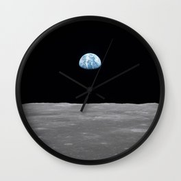 Earth rise over the Moon Wall Clock