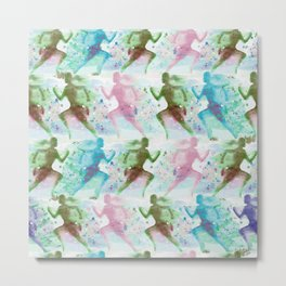Watercolor women runner pattern Metal Print