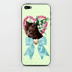 Retro Vintage Floral Cat with Bow iPhone & iPod Skin