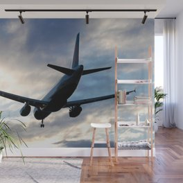 Airliner Landing at Sunset Wall Mural