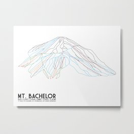 Mt. Bachelor, OR - Minimalist Trail Art Metal Print