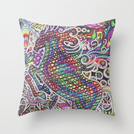 Unicorn Mandala Psychedelic Pattern Ink Drawing Throw Pillow
