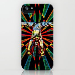 3709s-DEW Abstract Pop Art Feminine Power Yoga Headstand Split Zebra Nude iPhone Case