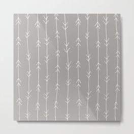 Grey, Fog: Arrows Pattern Metal Print
