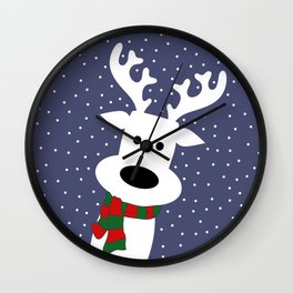Reindeer in a snowy day (blue) Wall Clock