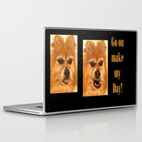 pomeranian Laptop & iPad Skins featuring Pomeranian dog (slightly distorted like her personality) lol by Bruce Stanfield