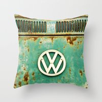 vw Throw Pillows featuring VW Retro by Alice Gosling