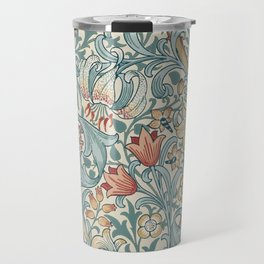 William Morris Vintage Golden Lily Slate Blue & Manilla Travel Mug