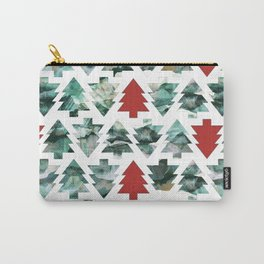 Painted Christmas pine trees pattern Carry-All Pouch