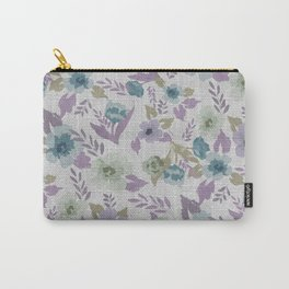 Lavender Grey Flowers Carry-All Pouch