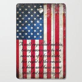 2nd Amendment on American Flag - Vertical Print Cutting Board